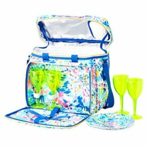 Lilly Pulitzer dive in picnic cooler